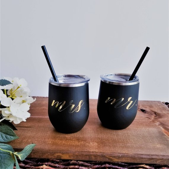 mr mrs tumblers wedding engagement gift