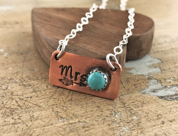 mrs. copper turquoise necklace bride to be wedding engagement jewelry