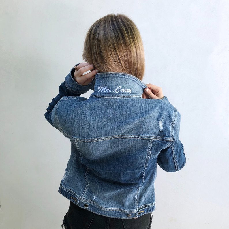 mrs popped collar bridal denim jean jacket