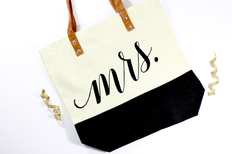 Mrs Tote Bag with Leather Handle