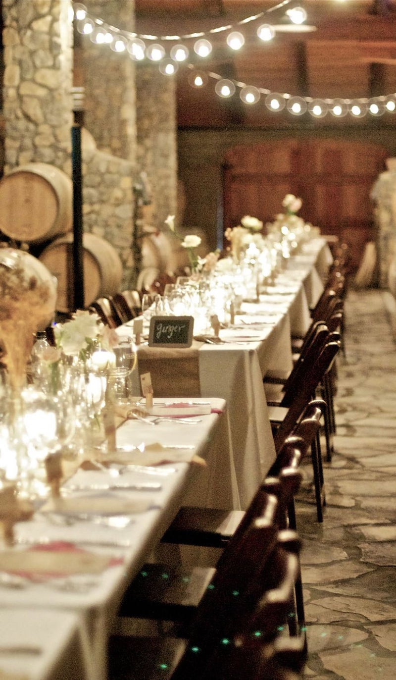 Natural Burlap Table Runner for Winery Wedding