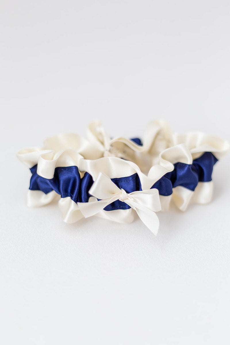 navy blue accessories for bride - custom garter