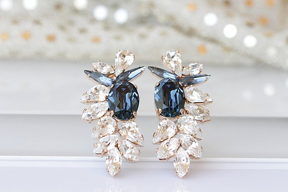 navy blue bridal wedding day earrings