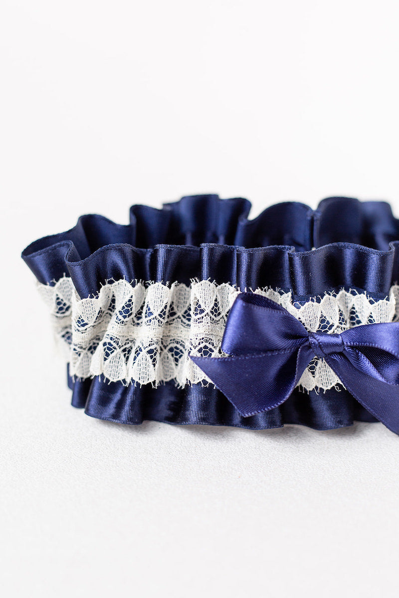 elegant navy blue and ivory lace wedding garter