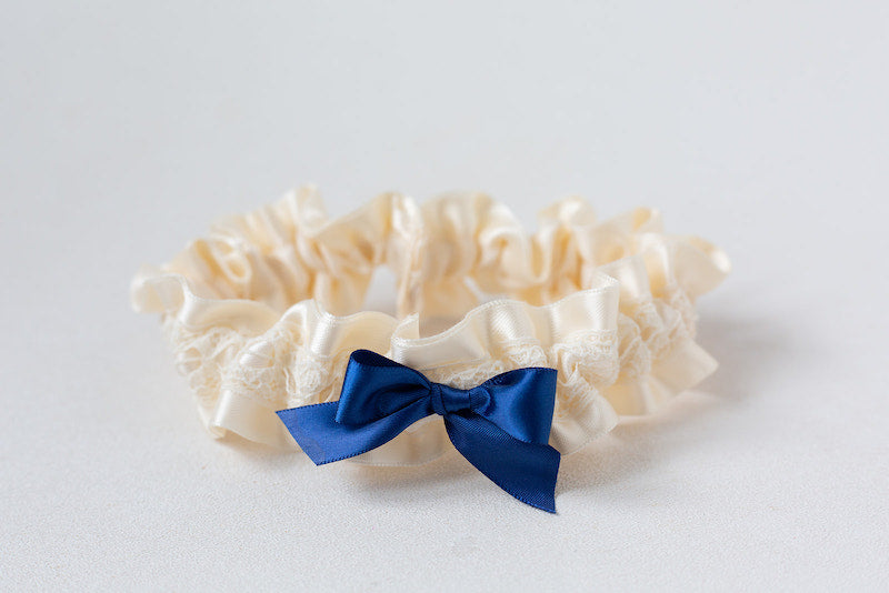 custom garter with navy blue bow