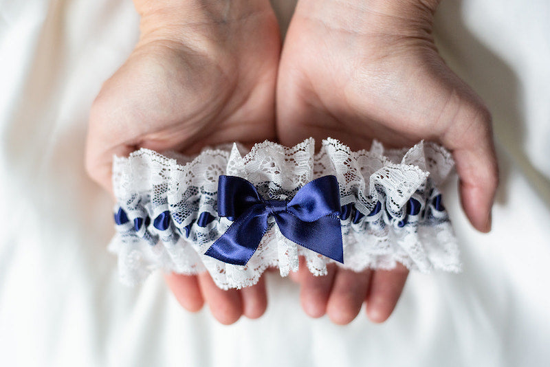 navy blue heirloom garter set