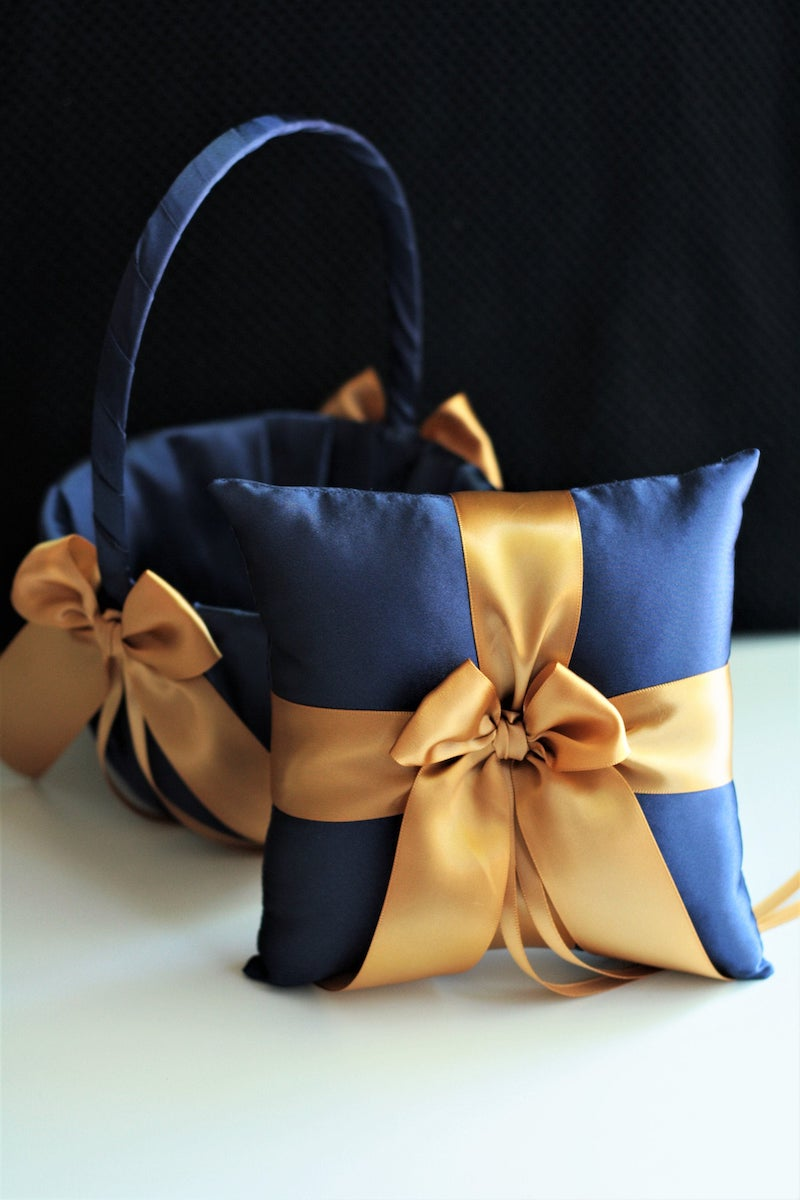 Blue and Gold Ribbon Ring Pillow