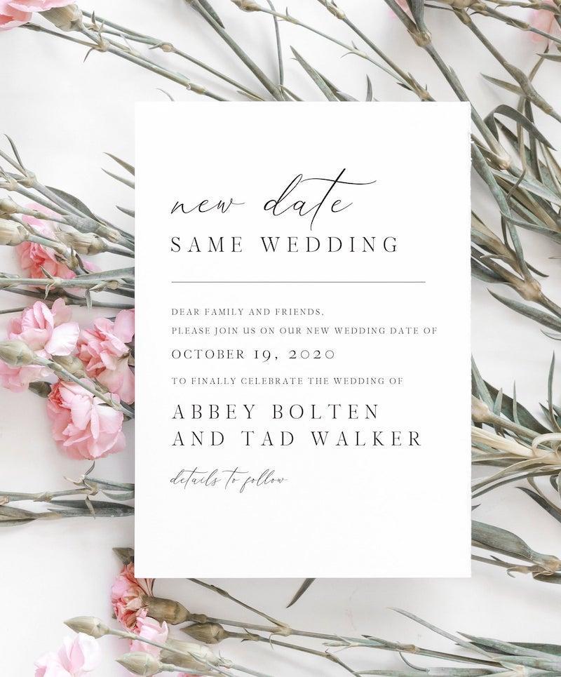 New Wedding Date Postponement Announcement