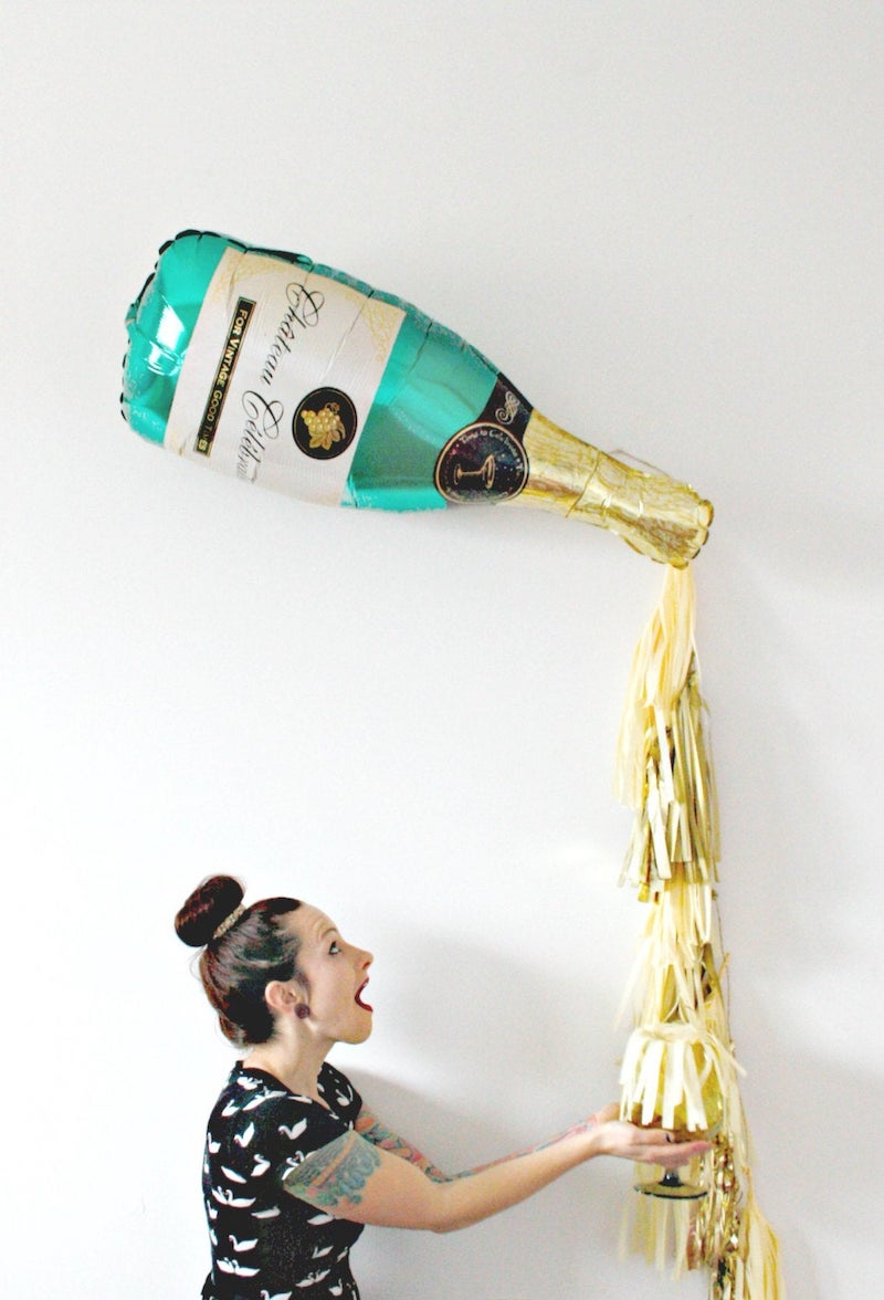 New Years Champagne Bottle Popping Balloon