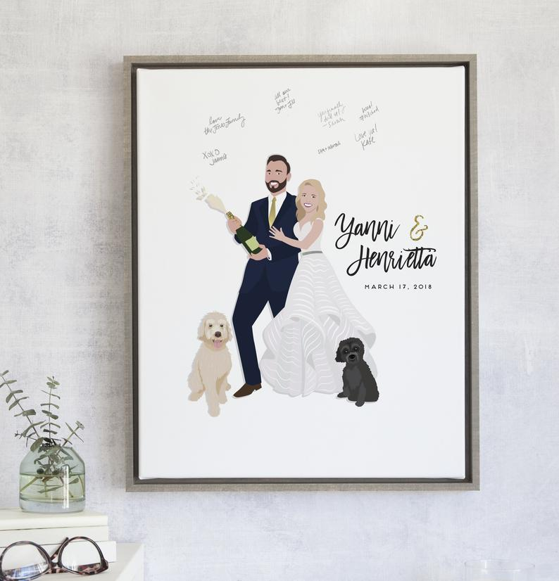 New Year Wedding Guest Book Poster Popping Champagne