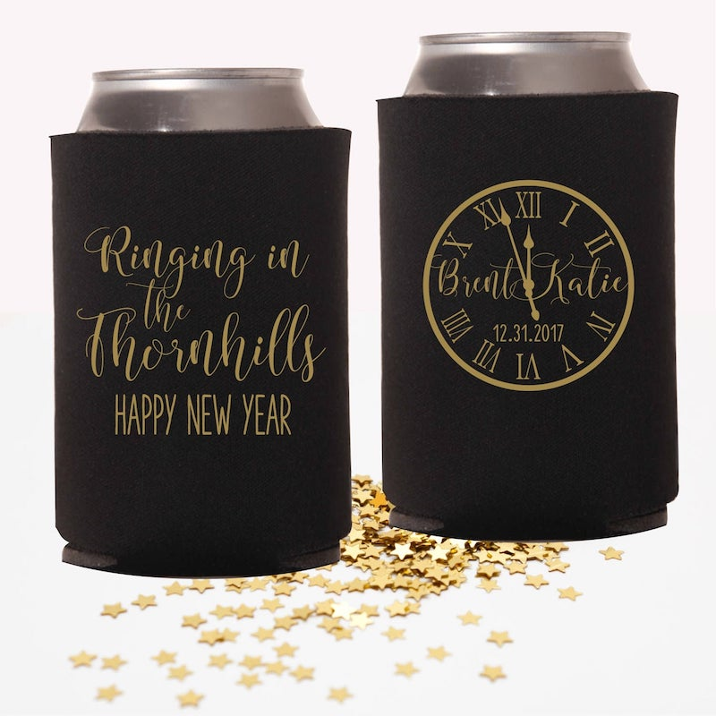 New Years Wedding Can Coolers