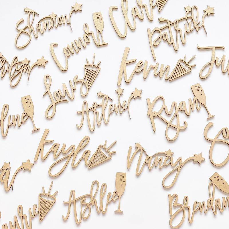 New Years Wedding Place Card Wood Names
