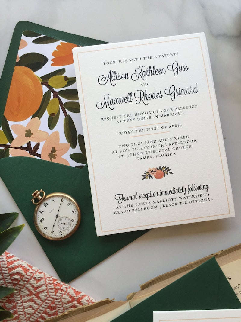 Orange Citrus Wedding Invitation Suite