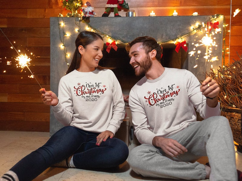 Our First Christmas as Mr and Mrs Sweatshirt