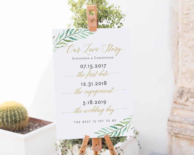 Our Love Story Print Printable Wedding Sign