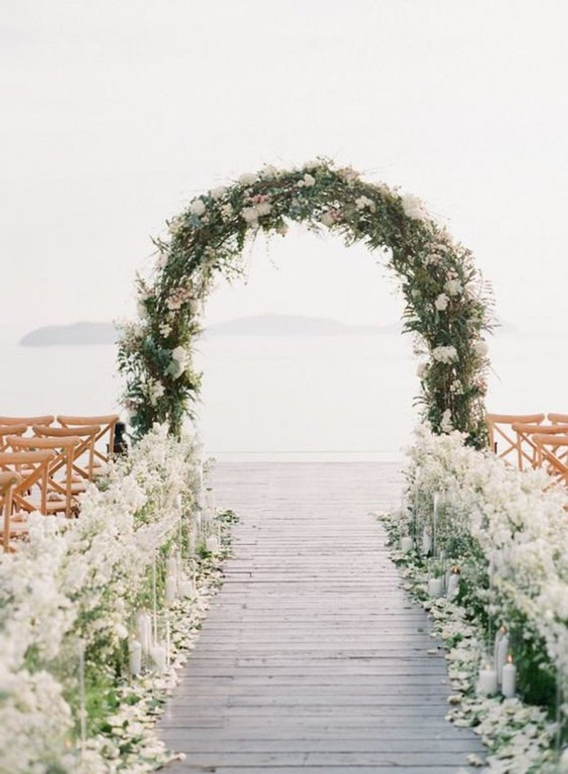 Oval Wedding Flower Arch for Outdoor Weddings