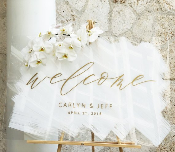painted acrylic wedding welcome sign