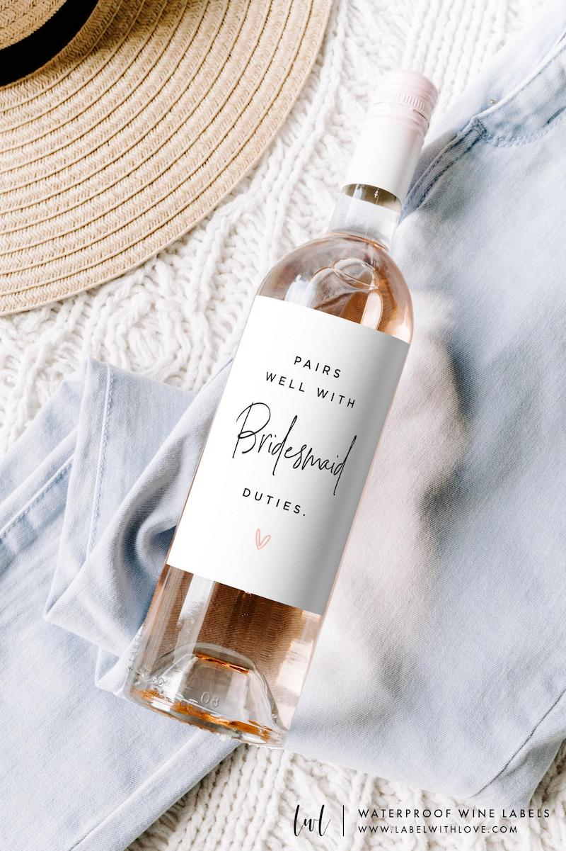 Pairs Well With Bridesmaid Duties Wine Label