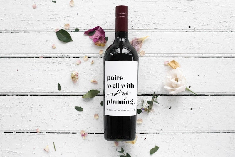 Pairs Well With Wedding Planning Wine Bottle Label