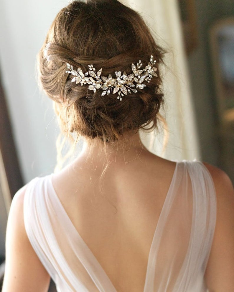 pearl and jeweled wedding hair comb