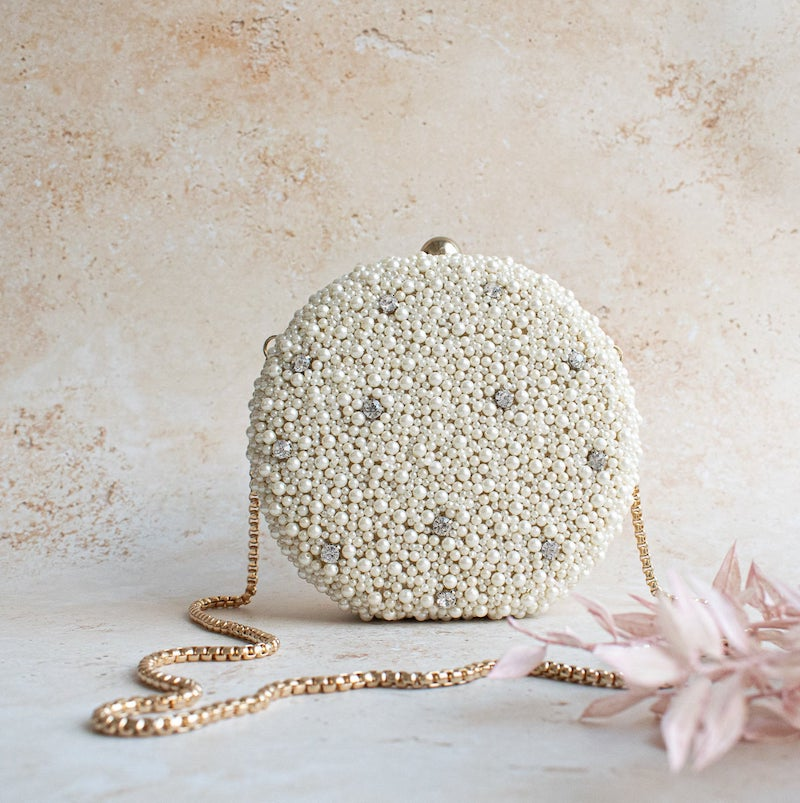 Pearl Bride Clutch with gold Chain