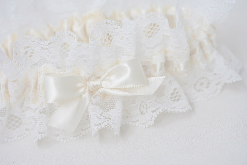 ivory lace wedding garter