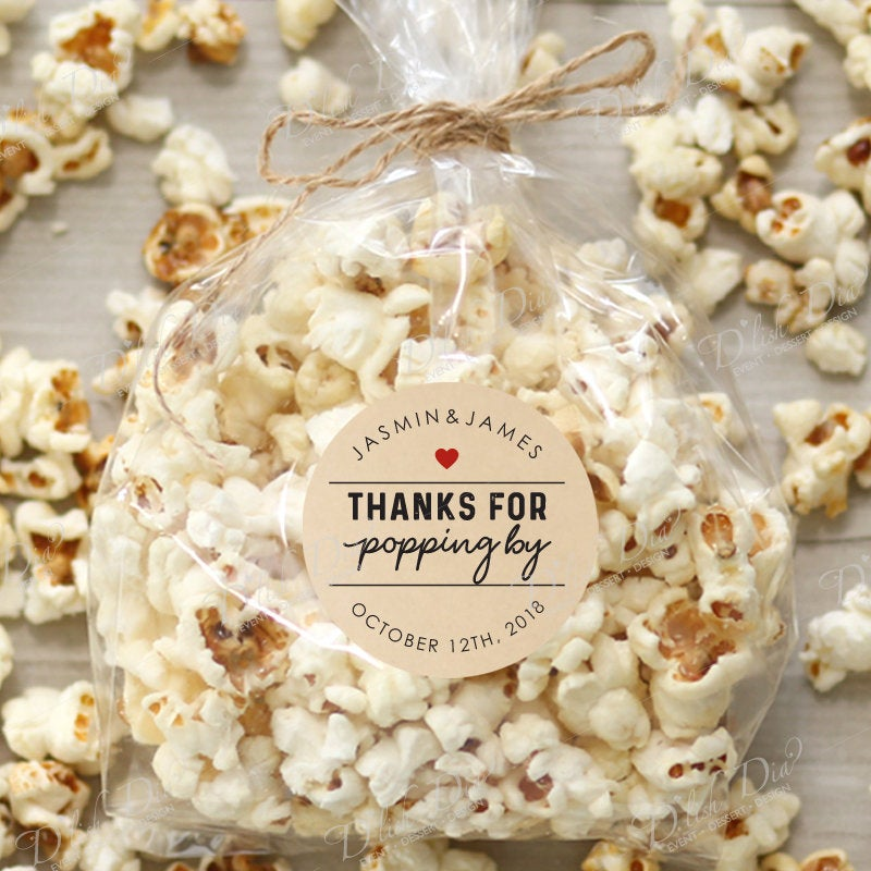Personalized Stickers for Popcorn Favor