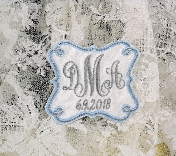 personalized blue wedding dress label