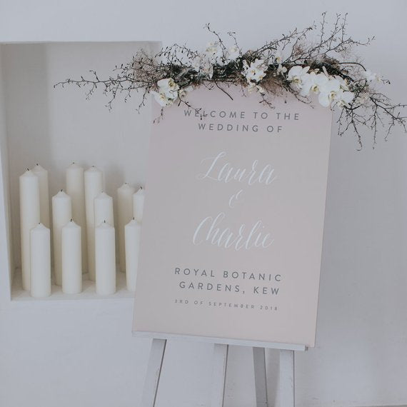 personalized blush modern wedding welcome sign