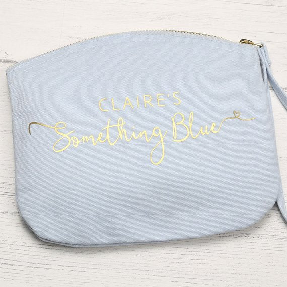 personalized blue bridal make up bag
