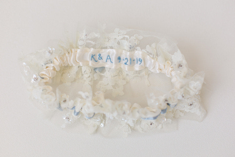 personalized bridal garter made from sparkle wedding dress lace