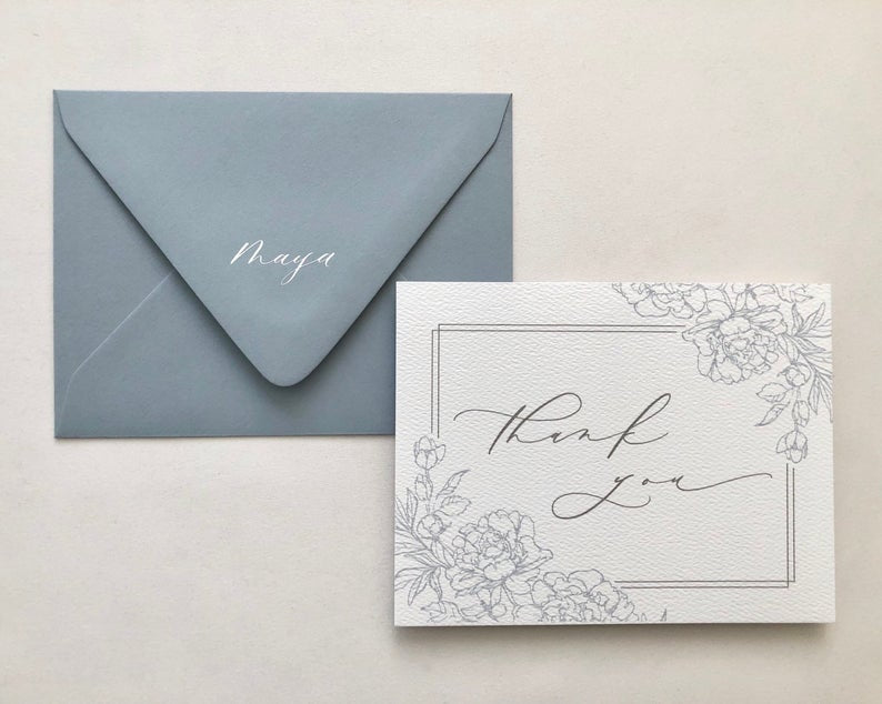 Personalized Bridesmaid Thank You Card with Calligraphy Name on Envelope Flap