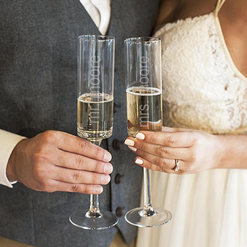 Personalized Contemporary Champagne Flutes for Elopement