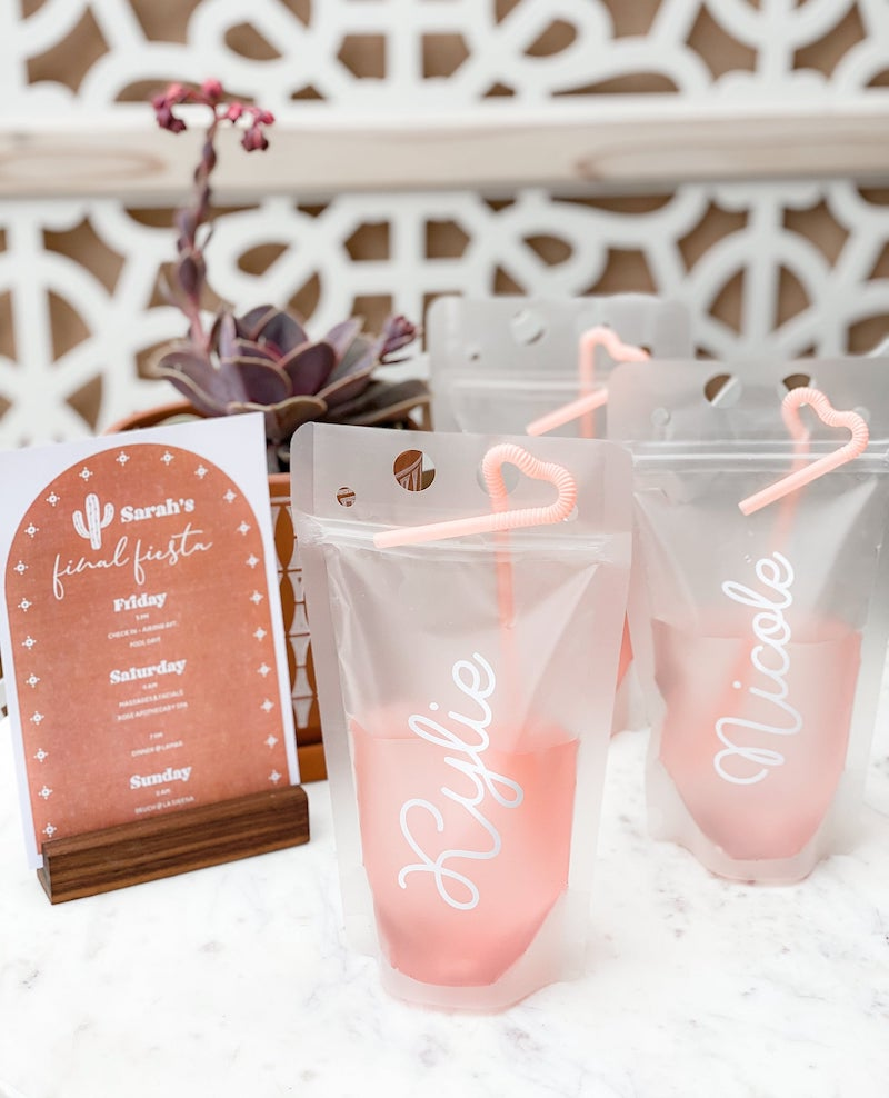 Personalized Drink Pouches Bachelorette Party Gifts