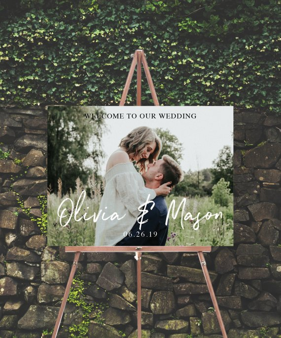 personalized engagement photo wedding welcome sign