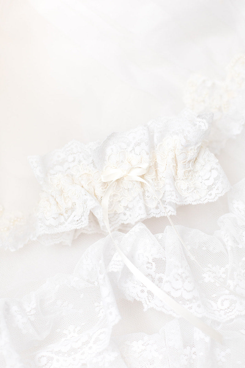 personalized garter made with lace from mother's wedding dress