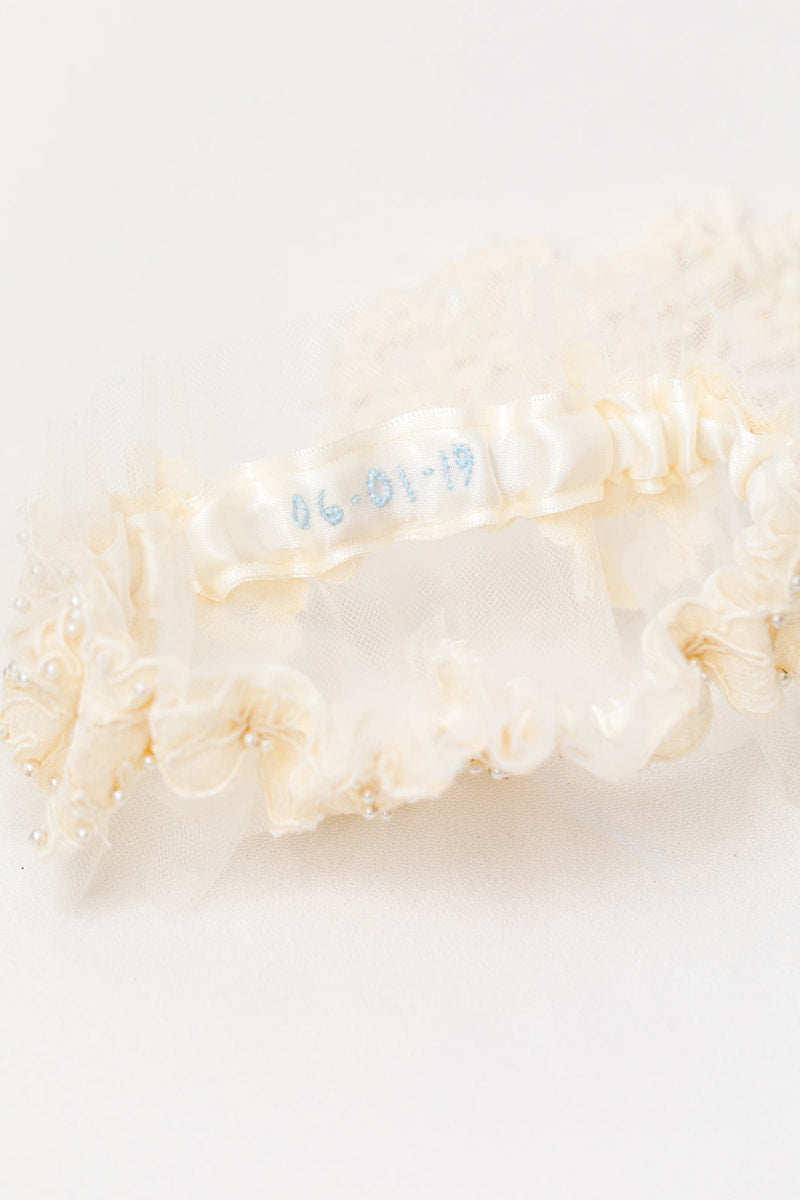 personalized garter made with mother's wedding dress