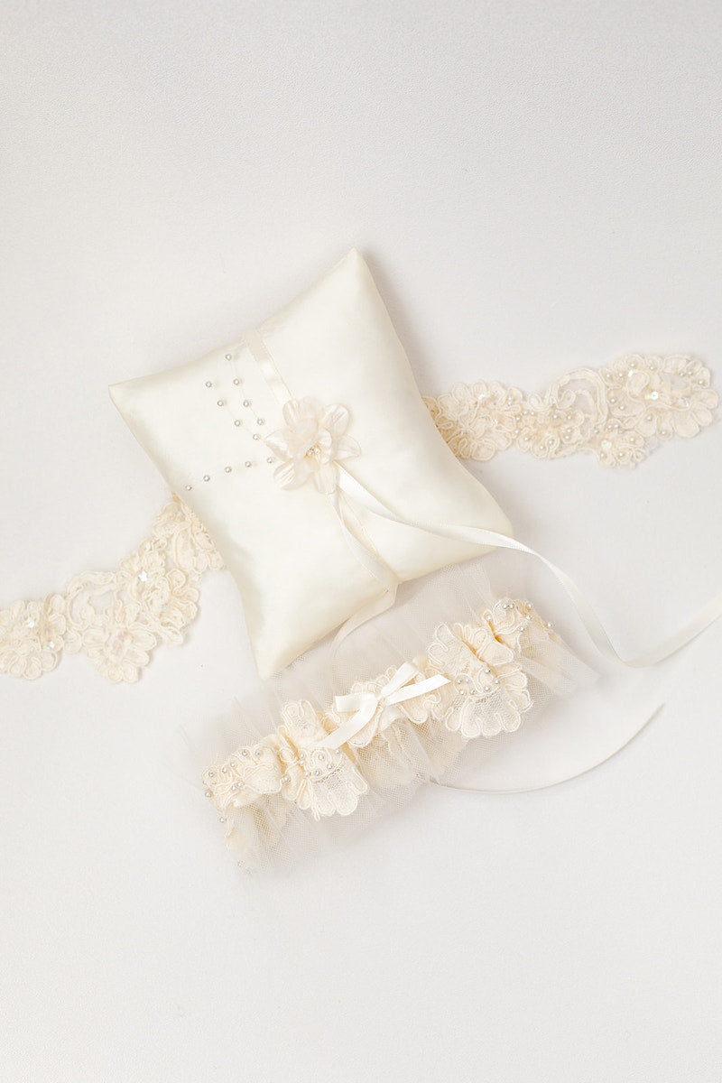 personalized garter and ring pillow made with mother's wedding dress