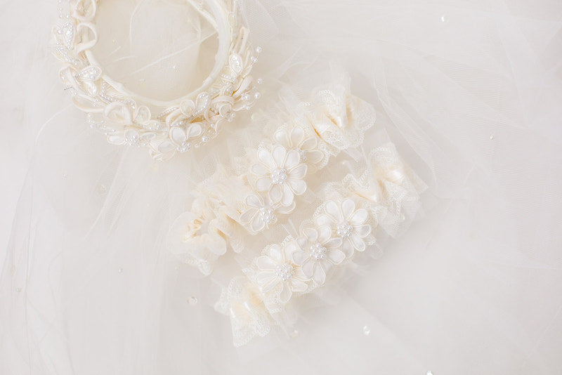 personalized garters for cousins from their aunt's veil