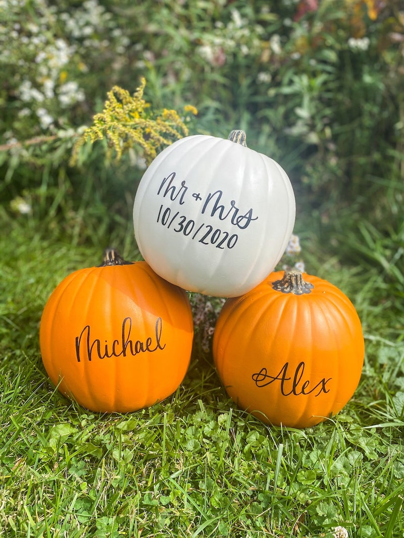 Personalized Mr and Mrs Pumpkins Fall Wedding Decor