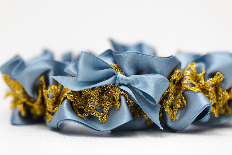 personalized garter dusty blue and gold lace