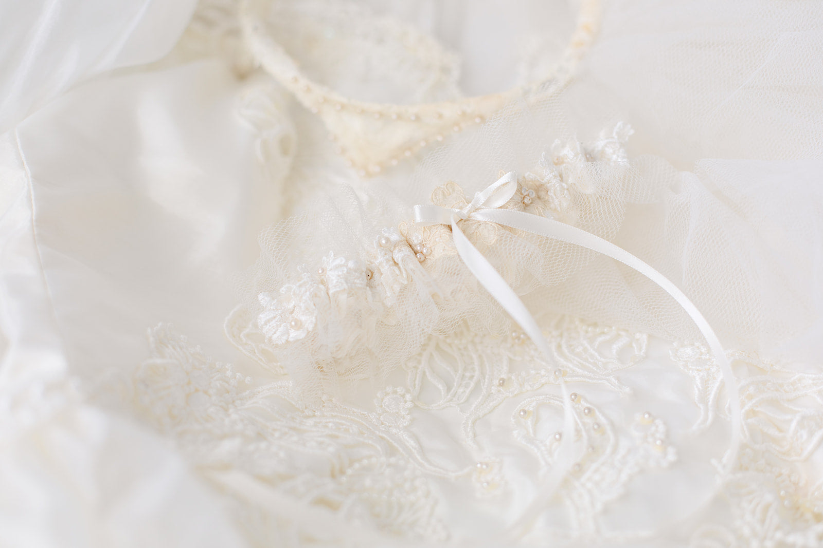 personalized garter made from mother's dress and grandmother's veil