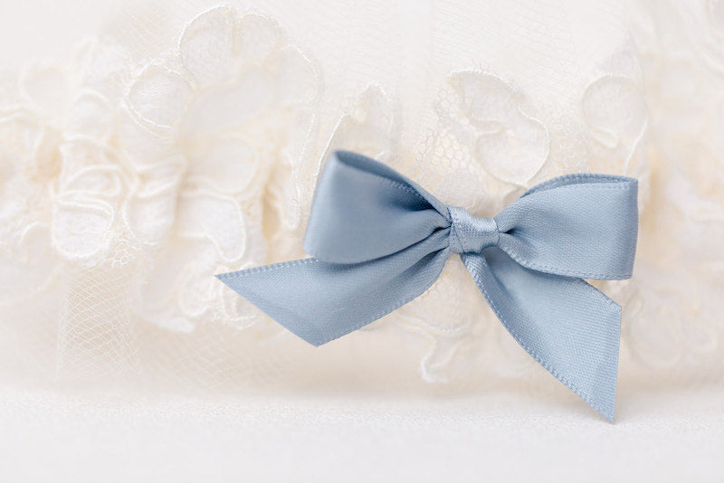 personalized garter made from mother's wedding dress sleeve