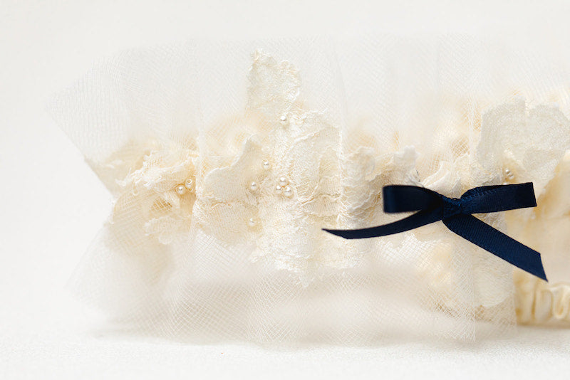 personalized garter set made from grandmother's veil with navy blue