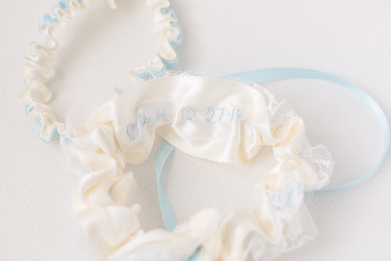 personalized garter with embroidery and vintage lace