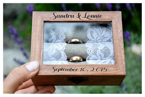 personalized glass wood wedding ring bearer box