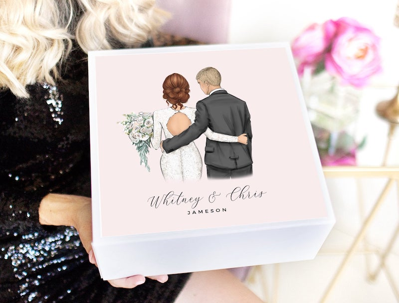 Personalized Illustrated Bridal Shower Gift Box
