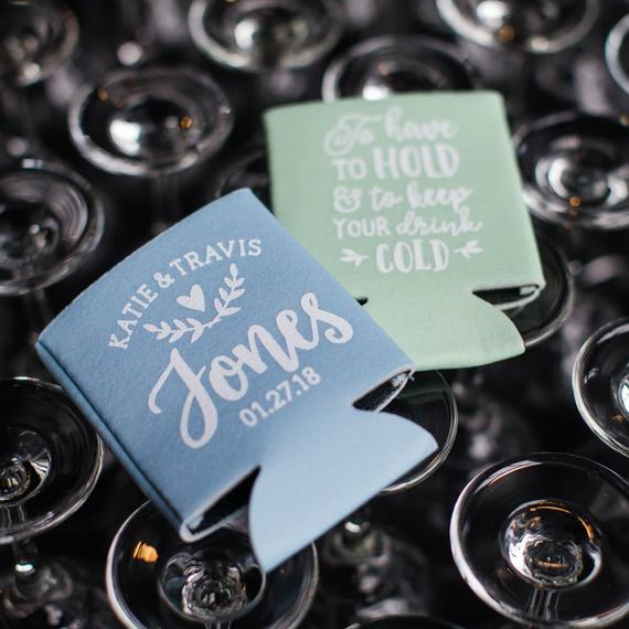 personalized koozie wedding guest favor