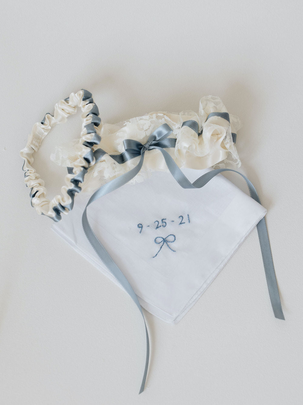 wedding garter set and handkerchief personalized with embroidery, handmade bridal heirlooms by The Garter Girl