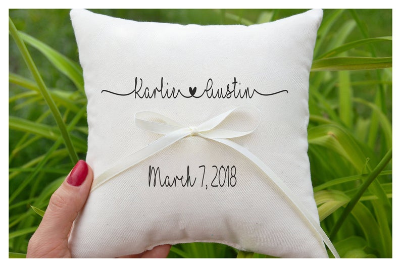 Personalized Modern Ring Bearer Pillow